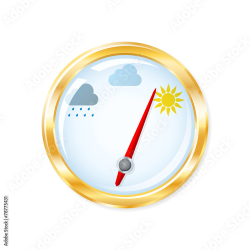Barometer measuring indicates sunny weather. Vector illustration - 78775431