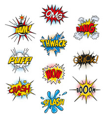 Retro Comic Book Vector Design elements, Speech and Thought