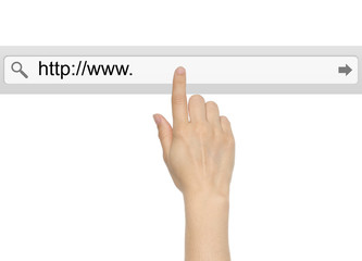 Hand pushing virtual search bar