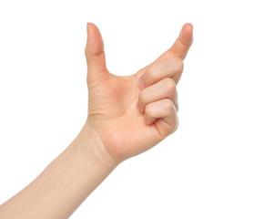 Woman hand like hold something on white backround