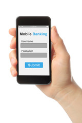 Hand holding smart phone with mobile banking login