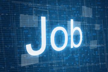 Job word on digital background, job, work concept