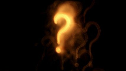Question marks. Out of focus lights background.