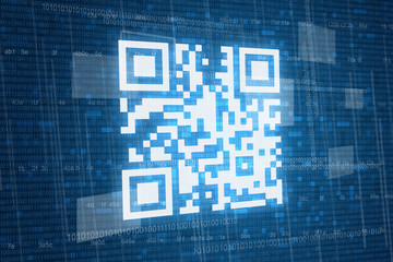 Qr code on digital background