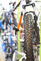 Tire tread of front wheel sports mountain bike