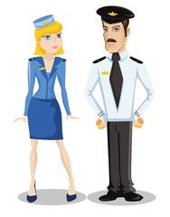 Мультфильм векторные символов пилот и стюардесса