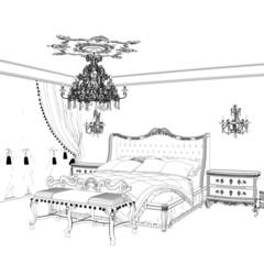 Sketch of retro bedroom interior design with chandelier