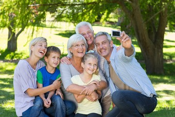 Happy family taking a selfie
