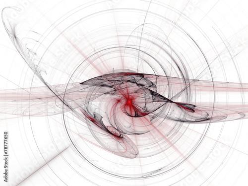 Foto op Canvas Fractal waves Fraktal Hintergrund weiss, schwarz, rot