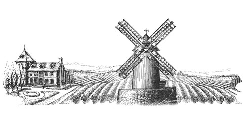 windmill and the landscape on a white background. sketch
