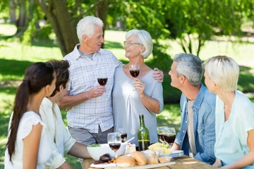 Happy senior toasting with their family