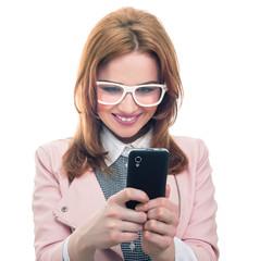 Trendy woman on phone