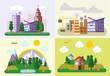 Постер, плакат: Набор различных пейзажей в плоский стиль городской страны