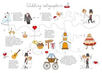 Набор свадебный каракули инфографики с элементами шаблон дизайна