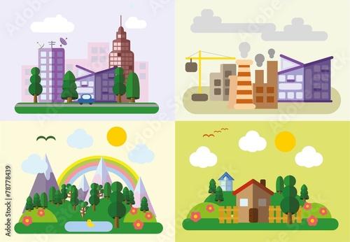 Постер, плакат: Набор различных пейзажей в плоский стиль городской страны, холст на подрамнике