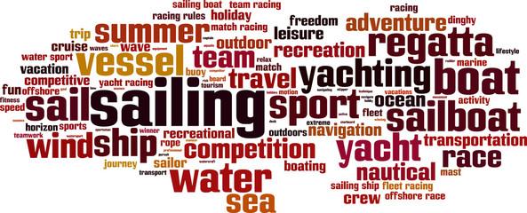 Sailing word cloud concept. Vector illustration