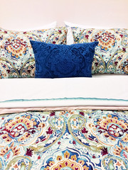 Colorful bed linen with floral design