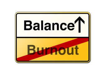 Work-life-balance Burnout Schild