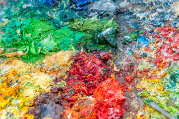 painting pan full of color paint