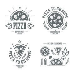 Pizzeria labels, badges and design elements