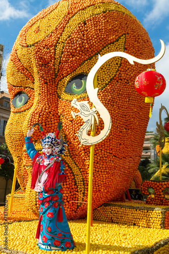 Foto op Canvas Standbeeld Art made of citrus fruits. Lemon Festival Menton, France