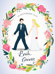 Wedding invitation, bride & groom, marriage, floral crown