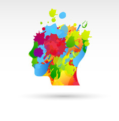fantasia, testa, colori, pittore, pittura, belle arti