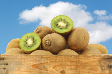 kiwi fruit in a wooden crate against a blue sky with clouds