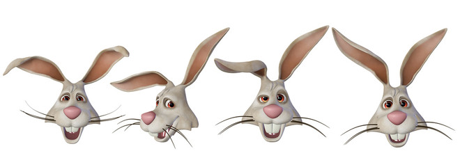 Easter bunny, various face expressions