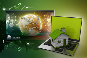 Real estate concept with laptop