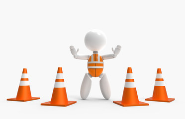 new 3D people stop sign with traffic cones and safety vest