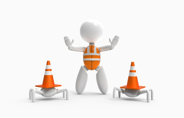new 3D people - traffic cones and with assistant
