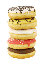 stacked assorted colorful glazed donuts with sprinkles