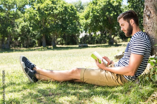 Fototapeta Hipster reading a book in the park