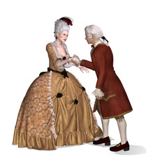 Elegant 18th Century Lady and Gentleman