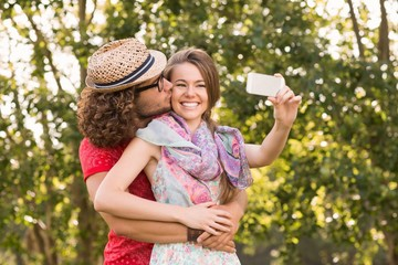 Friends taking a selfie in the park