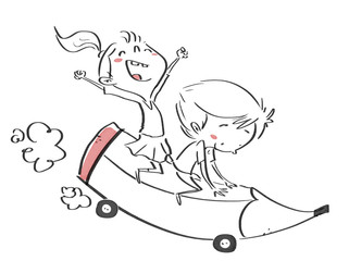niños montados en un lápiz