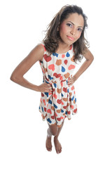 A Mulatto model wearing with a Heart dress