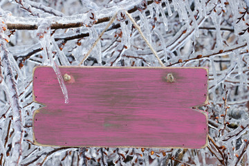 Blank pink wood sign hanging in ice covered tree