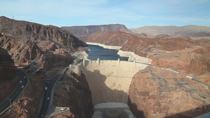 Aerial view of Hoover dam on a sunny day