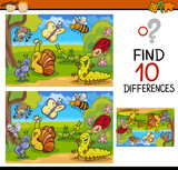 Fototapety finding differences game cartoon