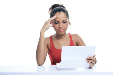 A Stress woman paying bills, isolated on white