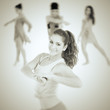 Young beautiful dancer, different poses in collage