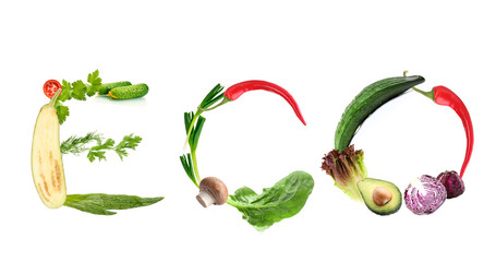 Word Eco made of fruits and vegetables isolated on white