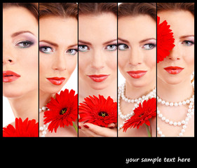 Beautiful young woman with red flower in collage and space for