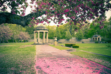 Pastel tone garden with cherry blossoms and gazebo