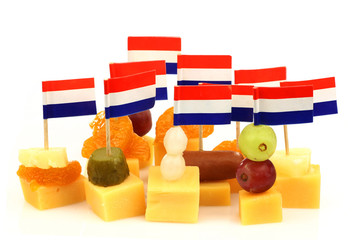 Dutch cheese snacks on a white background