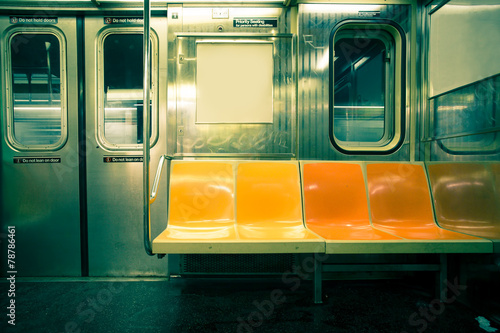 Foto Spatwand New York Vintage toned image of New York City subway car