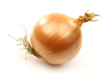 whole fresh onion on a white background