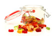 glass jar with colorful gummy bears with room four your text